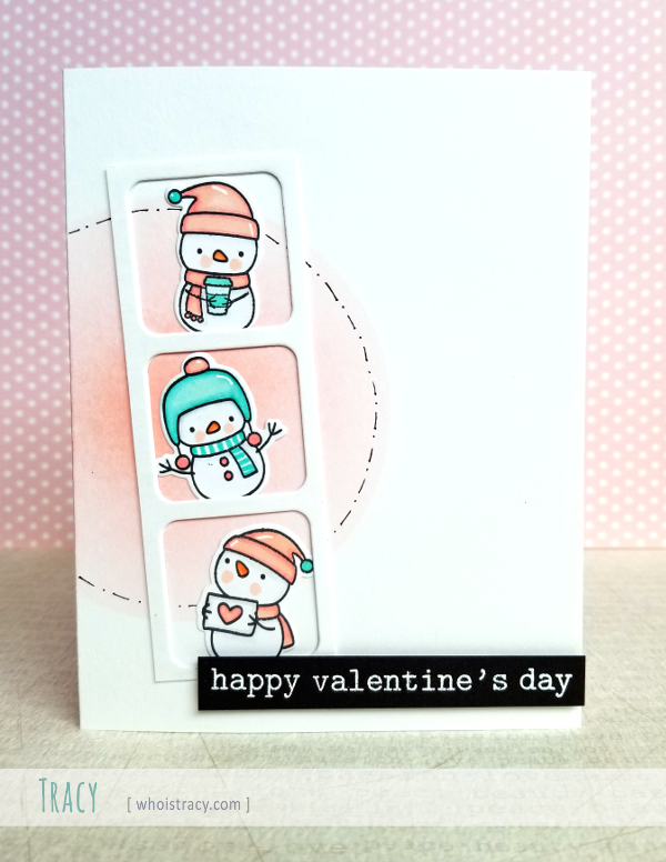 Snowmen Valentine card by Tracy @whoistracy.com