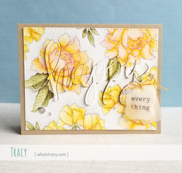 Watercolored Flowers card by Tracy @whoistracy.com